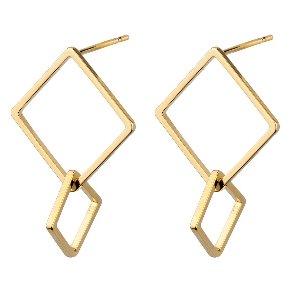 Stud & Drop Earring Double Square Made With Tin Alloy by JOE COOL