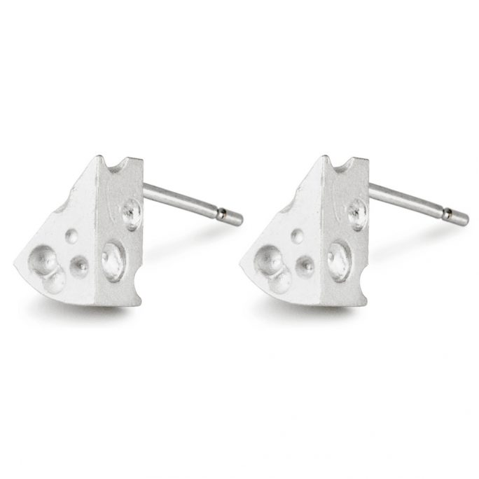 Stud Earring Cheese Wedge Made With Tin Alloy by JOE COOL
