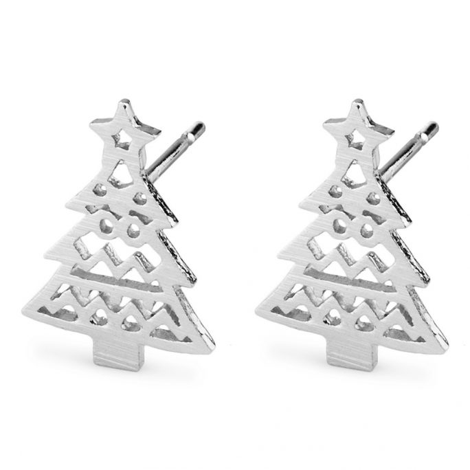 Stud Earring Christmas Tree Made With Tin Alloy by JOE COOL