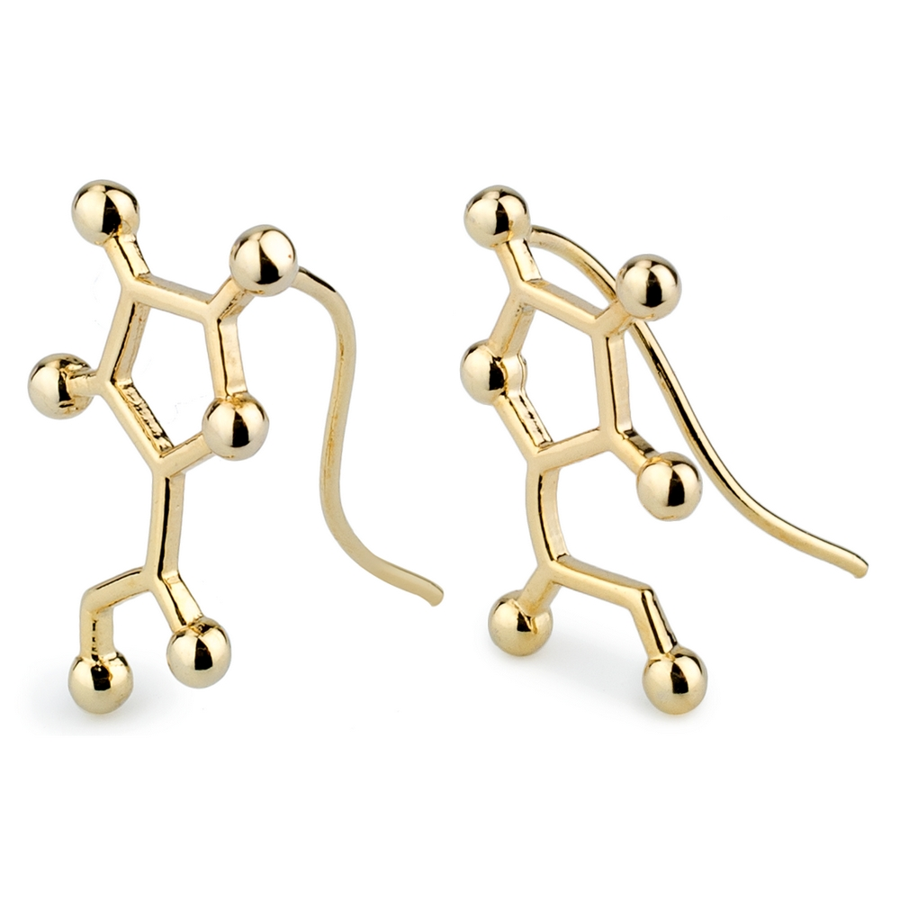 Drop Earring Dopamine Molecule Made With Tin Alloy by JOE COOL