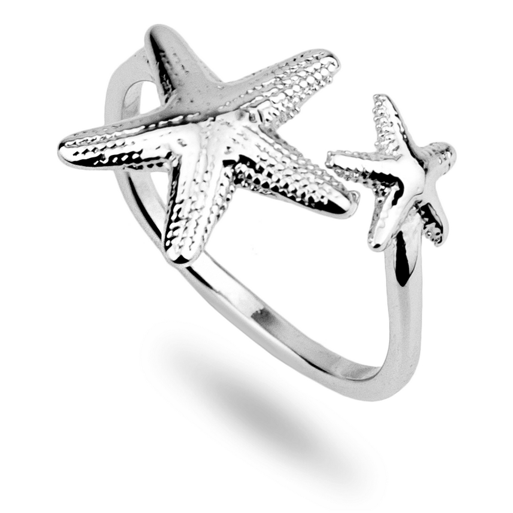 Ring Double Starfish Made With Tin Alloy by JOE COOL
