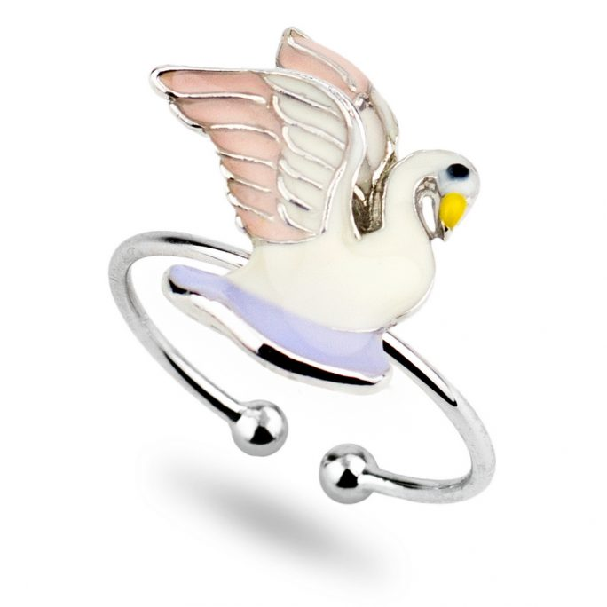Ring Swan Made With Tin Alloy & Enamel by JOE COOL