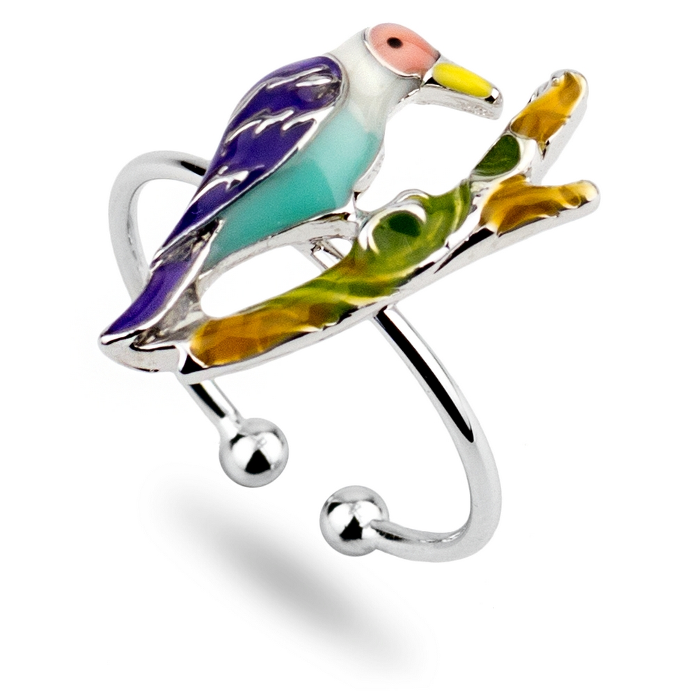 Ring Exotic Bird Made With Tin Alloy & Enamel by JOE COOL