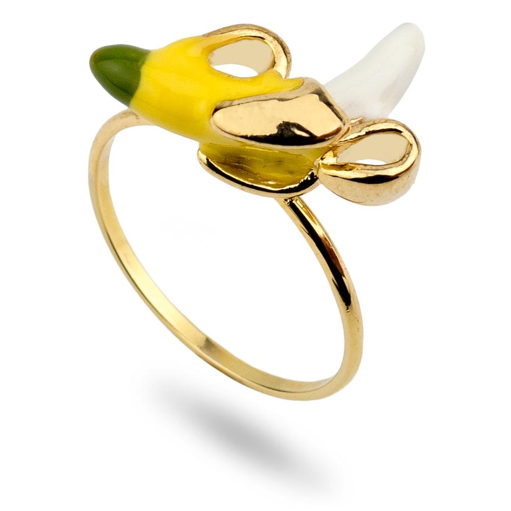 Ring Peeled Banana Made With Tin Alloy & Enamel by JOE COOL