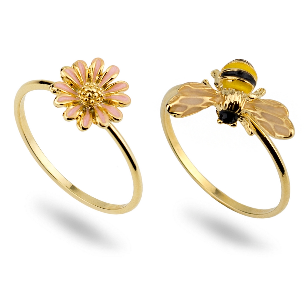 Ring Bee & Flower Made With Tin Alloy & Enamel by JOE COOL