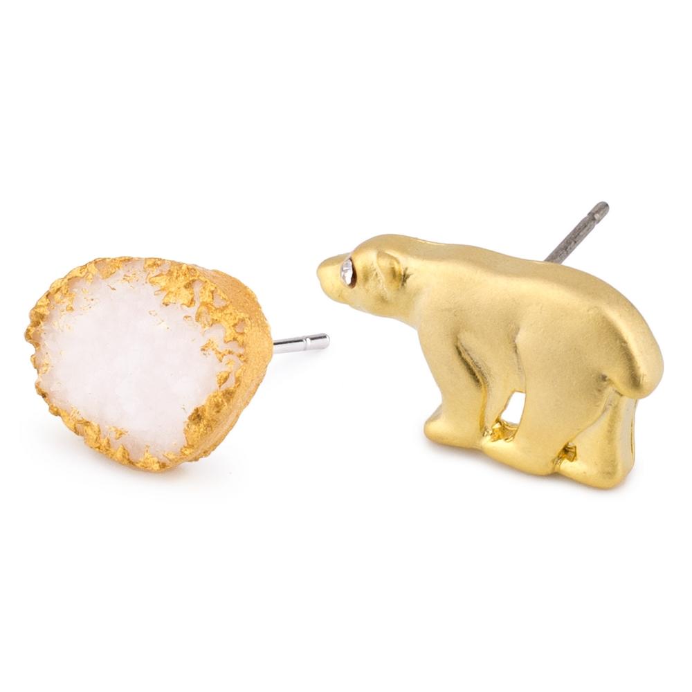 Stud Earring Polar Bear &  Iceberg Made With Tin Alloy & Crystal Glass by JOE COOL