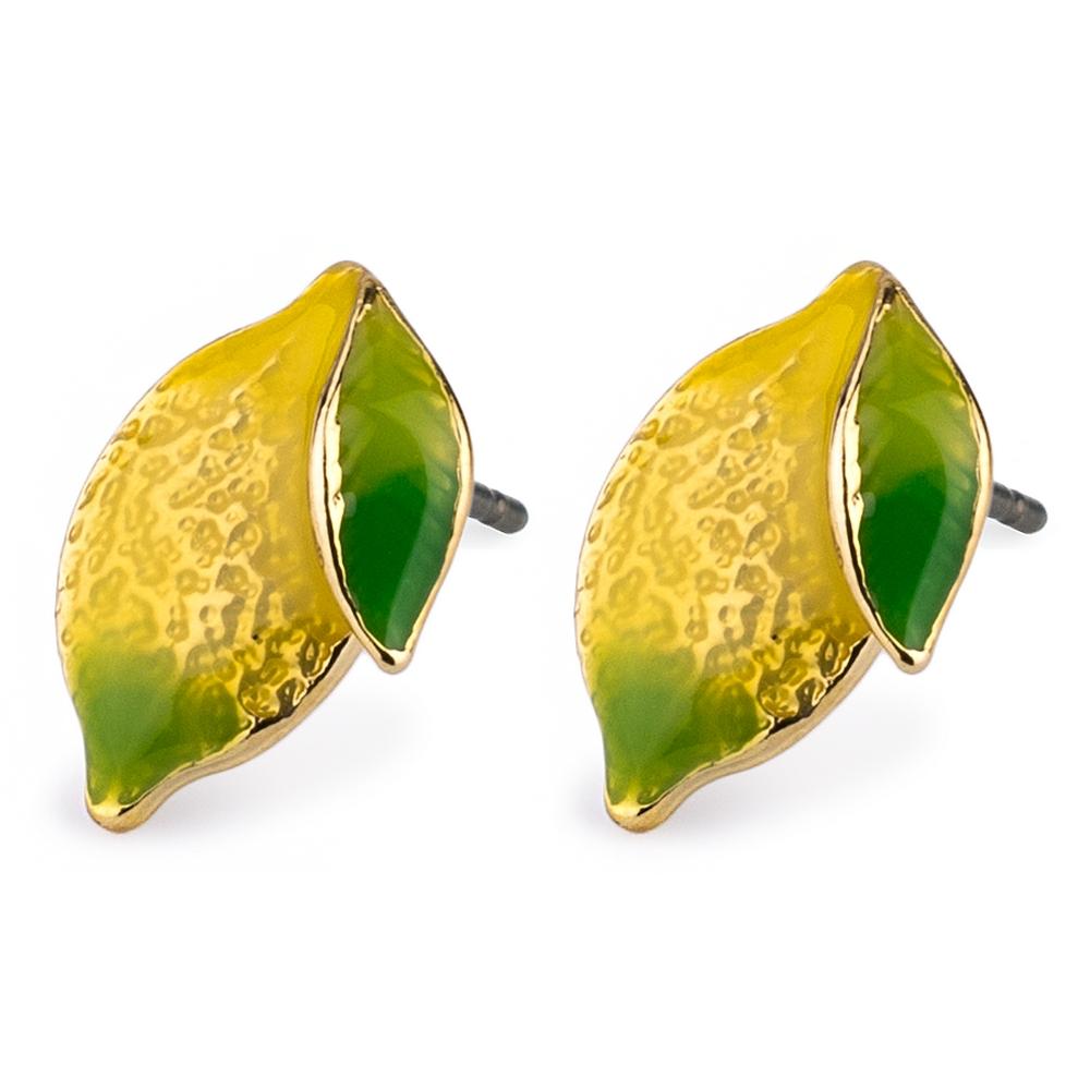 Stud Earring Lemon Made With Tin Alloy & Enamel by JOE COOL