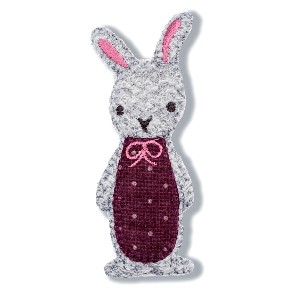 Brooch Rabbit With Bow Made With Tin Alloy & Fabric by JOE COOL