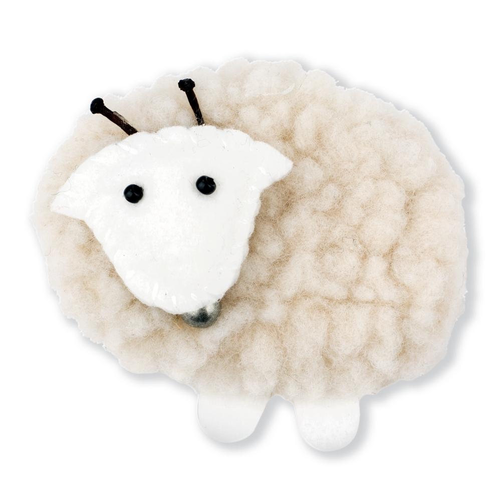 Clutch Pin Brooch Fleece Sheep Made With Tin Alloy & Fabric by JOE COOL