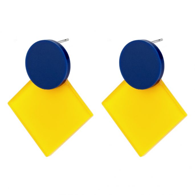 Stud Earring Disc With Square Made With Tin Alloy & Acrylic by JOE COOL