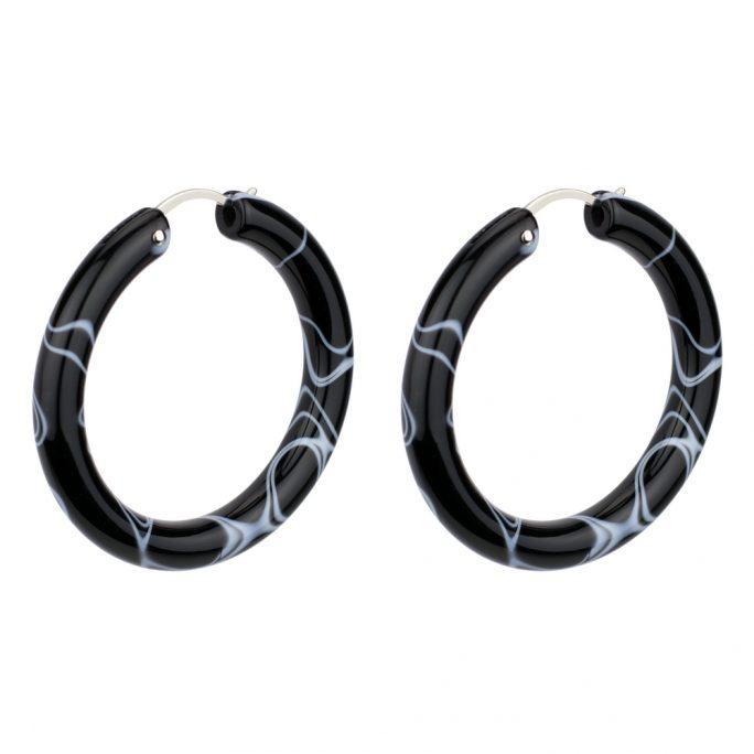 Hoop Earring Sleek Marbled Made With Tin Alloy & Acrylic by JOE COOL