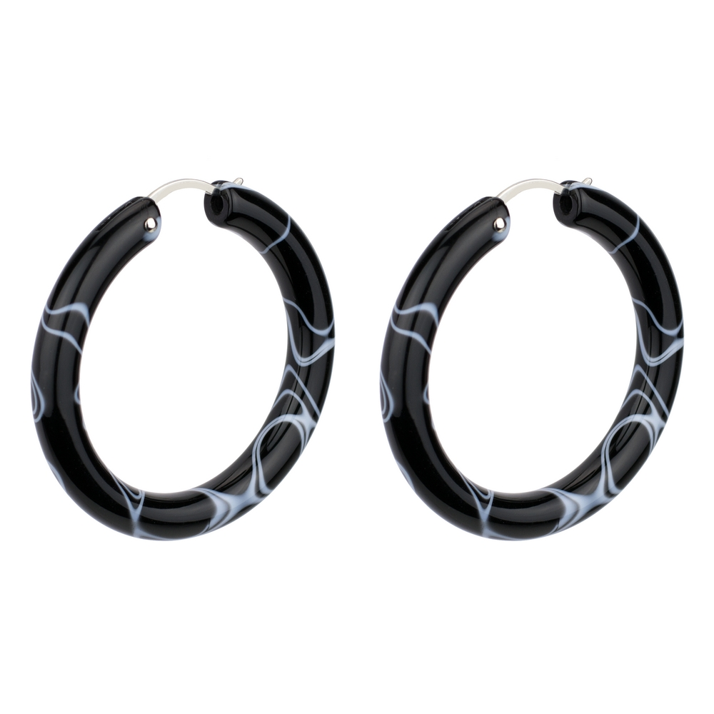 Hoop Earring Sleek Marbled Made With Tin Alloy & Acrylic by JOE COOL