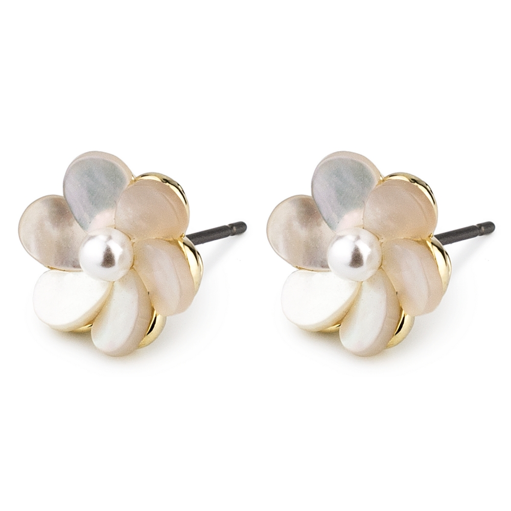 Stud Earring Blossom Made With 925 Silver & Pearl by JOE COOL