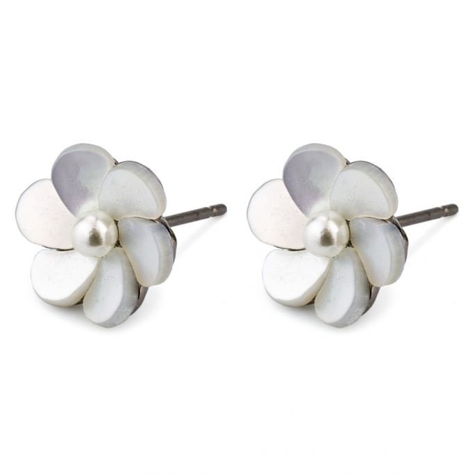 Stud Earring Oxidised Blossom Made With 925 Silver & Pearl by JOE COOL
