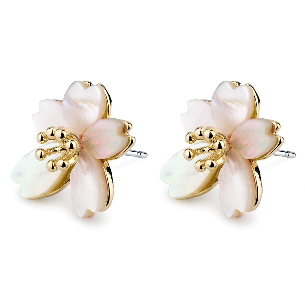 Stud Earring Cherry Blossom Burst Made With 925 Silver & Pearl by JOE COOL
