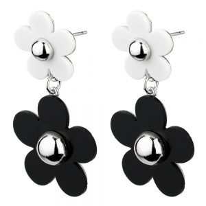 Stud & Drop Earring Two Tone Double Daisy Made With Tin Alloy & Acrylic by JOE COOL