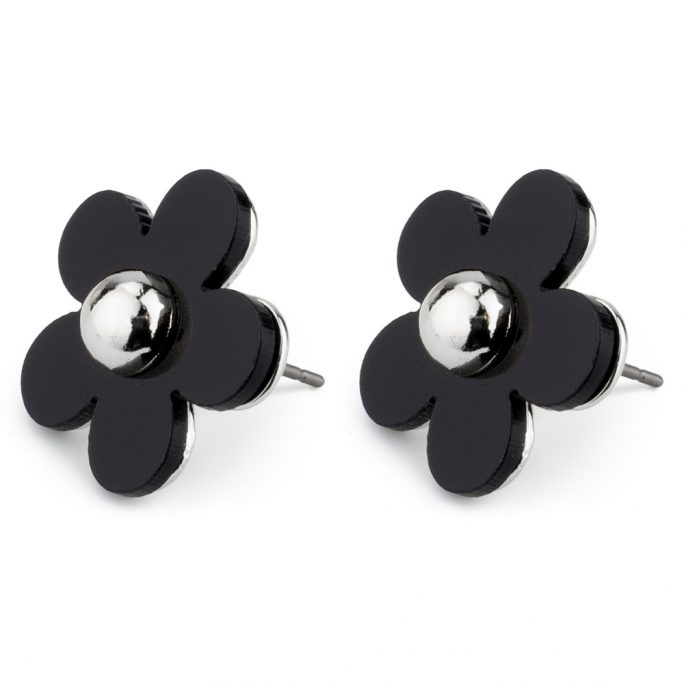 Stud Earring Monochrome Flower Made With Tin Alloy & Acrylic by JOE COOL