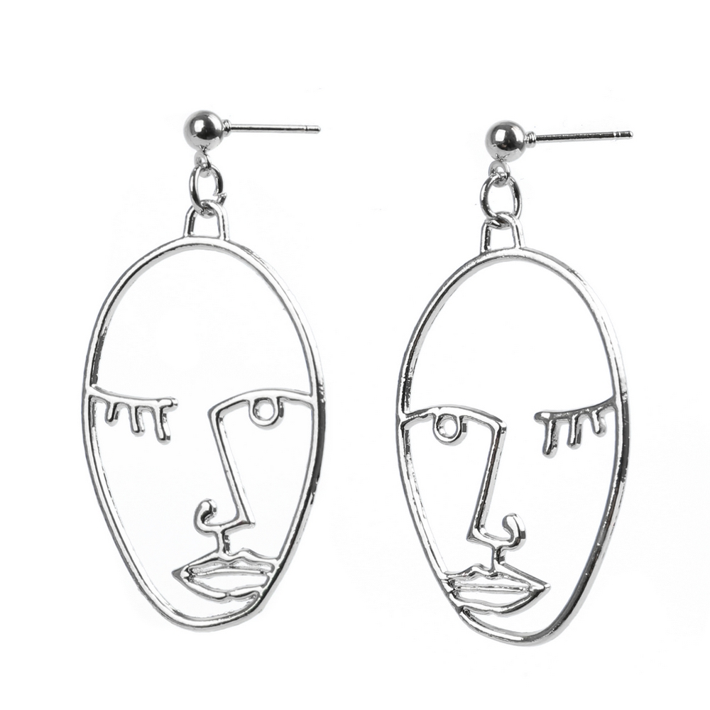 Stud Earring Wink Face Made With Tin Alloy by JOE COOL