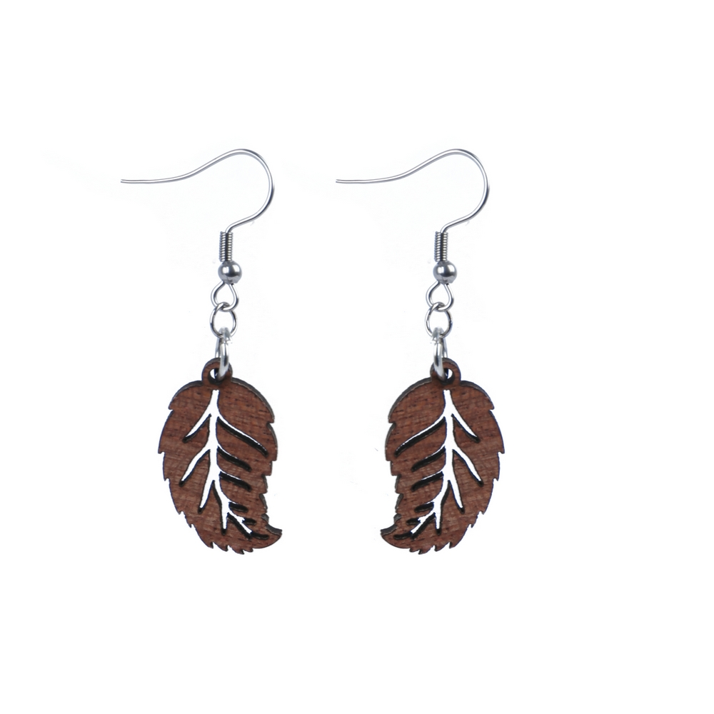 Drop Earring Falling Leaf Made With Wood & Iron by JOE COOL
