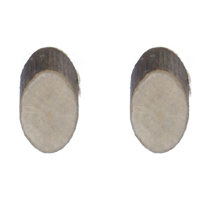 Stud Earring Slice Oval Made With Wood & Iron by JOE COOL
