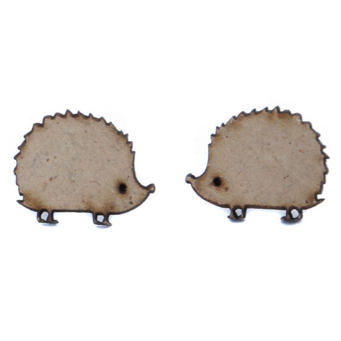 Stud Earring Hedgehog Made With Wood & Iron by JOE COOL