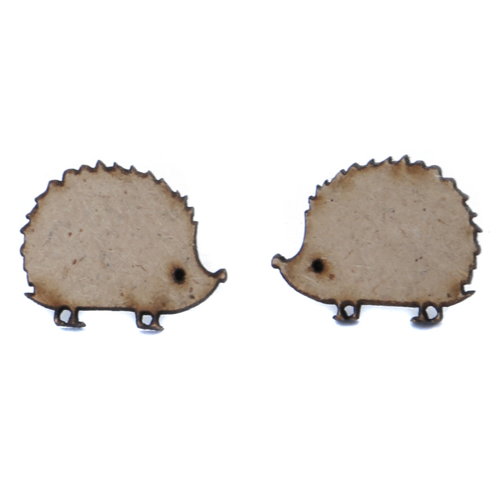 Stud Earring Hedgehog Made With Wood & Iron by JOE COOL