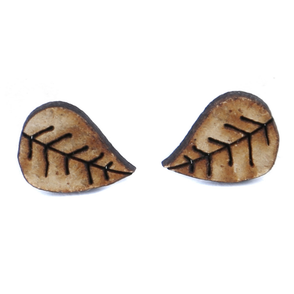 Stud Earring Leaf Made With Wood & Iron by JOE COOL