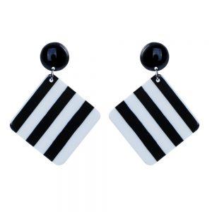 Stud & Drop Earring 2 Tone Stripe Made With Resin by JOE COOL