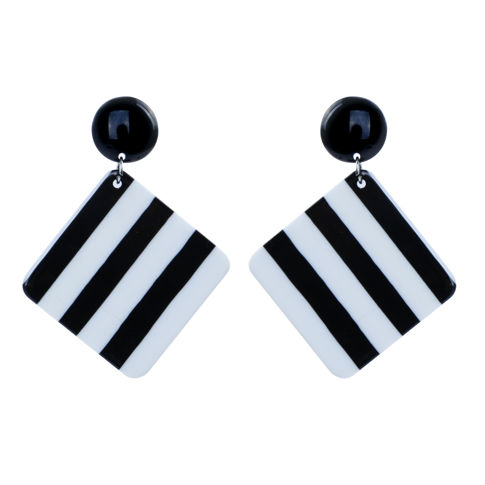 Stud & Drop Earring 2 Tone Stripe Made With Resin by JOE COOL