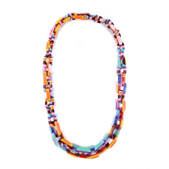 Necklace Colour Stripe Graduated Links Made With Acrylic by JOE COOL