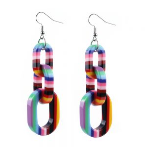 Drop Earring Colour Stripe Graduated Links Made With Acrylic by JOE COOL