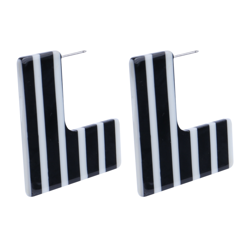 Drop Earring L Shape Striped Made With Cellulose & Stainless Steel by JOE COOL