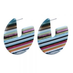 Drop Earring Large Shape Art Striped Round Made With Cellulose & Stainless Steel by JOE COOL