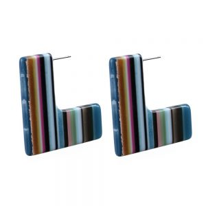 Drop Earring L Shape Art Striped Made With Cellulose & Stainless Steel by JOE COOL