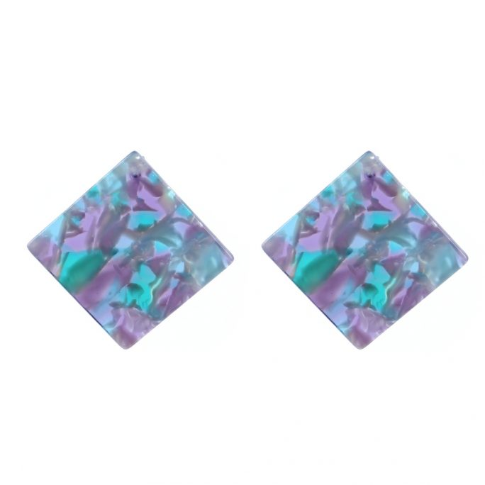 Stud Earring Deep Marble Square Made With Cellulose & Stainless Steel by JOE COOL