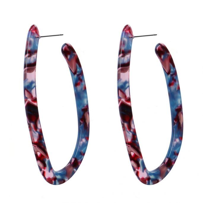 Drop Earring Mottle Hoop Made With Cellulose & Stainless Steel by JOE COOL