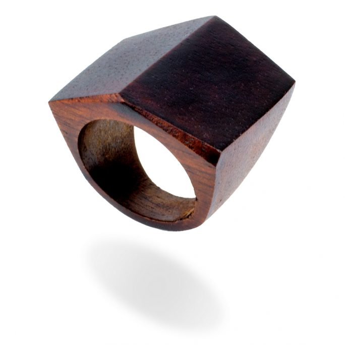 Ring Large Pitched Angle Made With Wood by JOE COOL