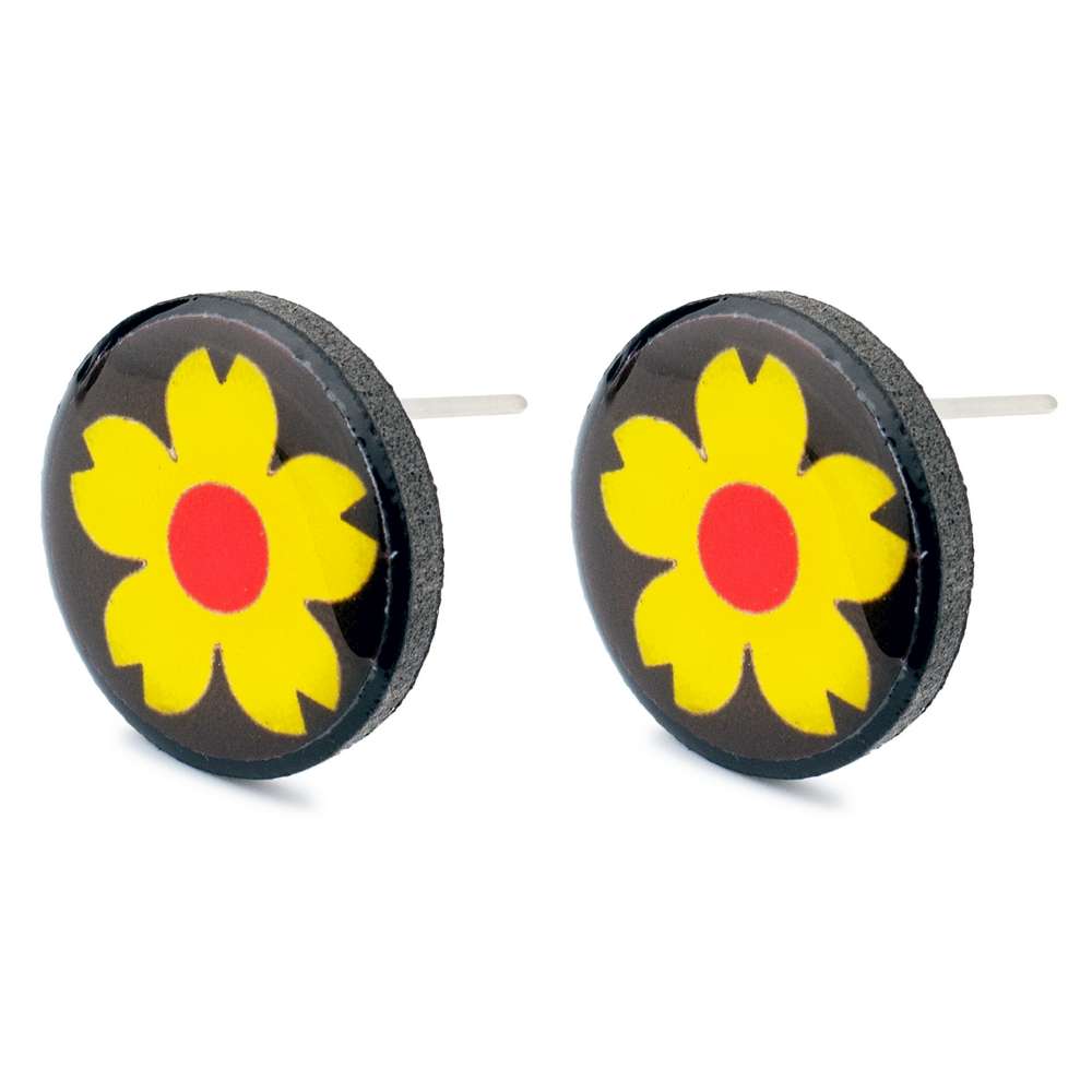 Stud Earring Flower Power Made With Resin by JOE COOL