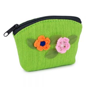 Coin Purse Embroidered Flower Detail Made With Cotton by JOE COOL