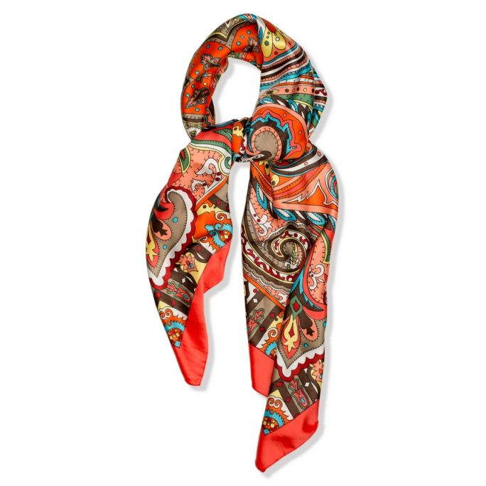 Scarf Vibrant Paisley Made With Silk & Polyester by JOE COOL