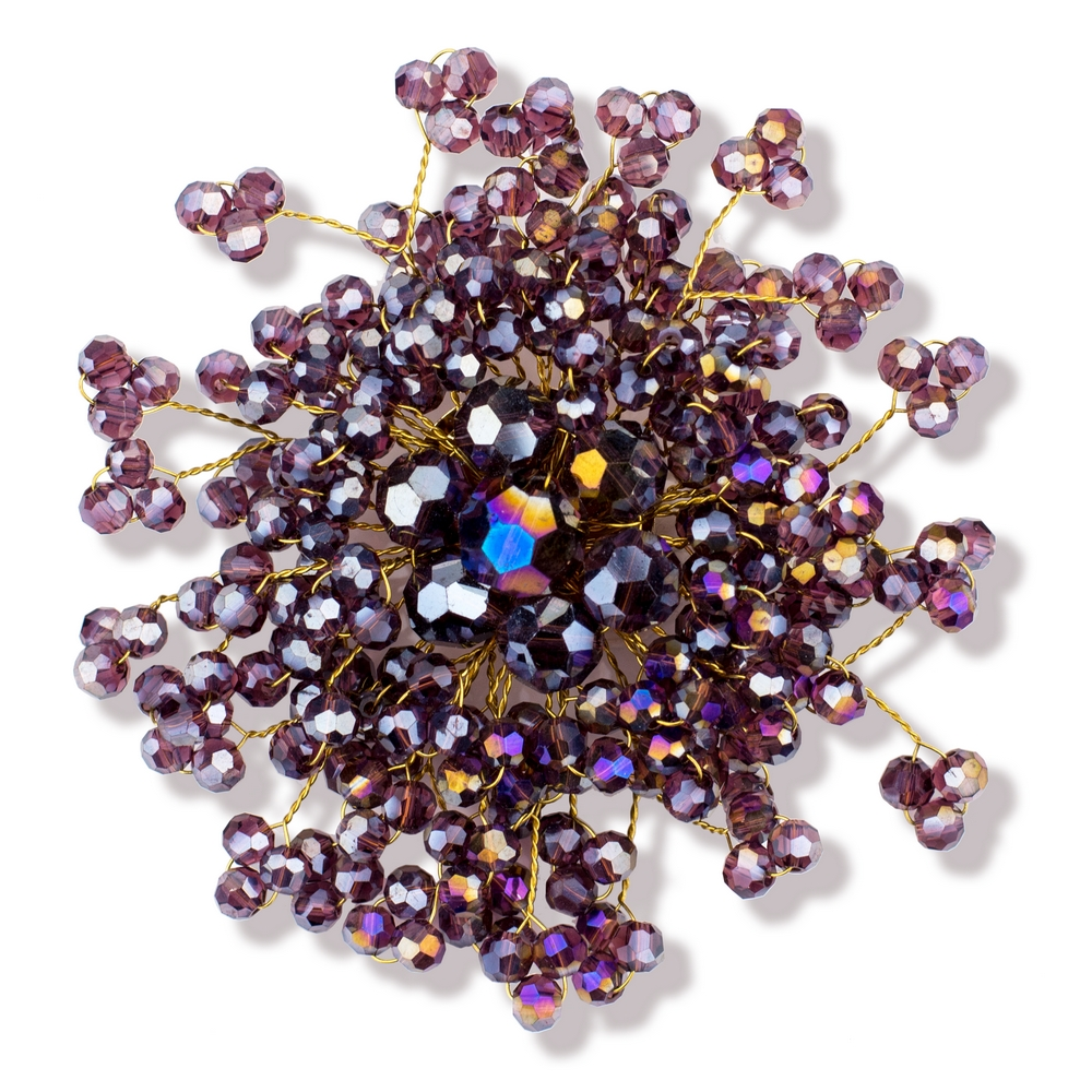 Brooch Faceted Burst Made With Crystal Glass & Tin Alloy by JOE COOL