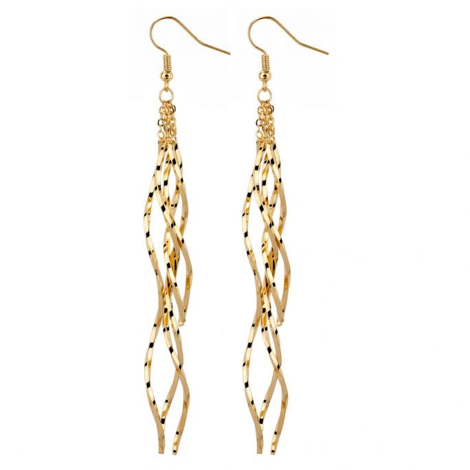 Drop Earring Wiggle Line Made With Tin Alloy by JOE COOL