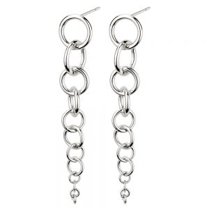 Stud & Drop Earring Descending Links Made With Tin Alloy by JOE COOL