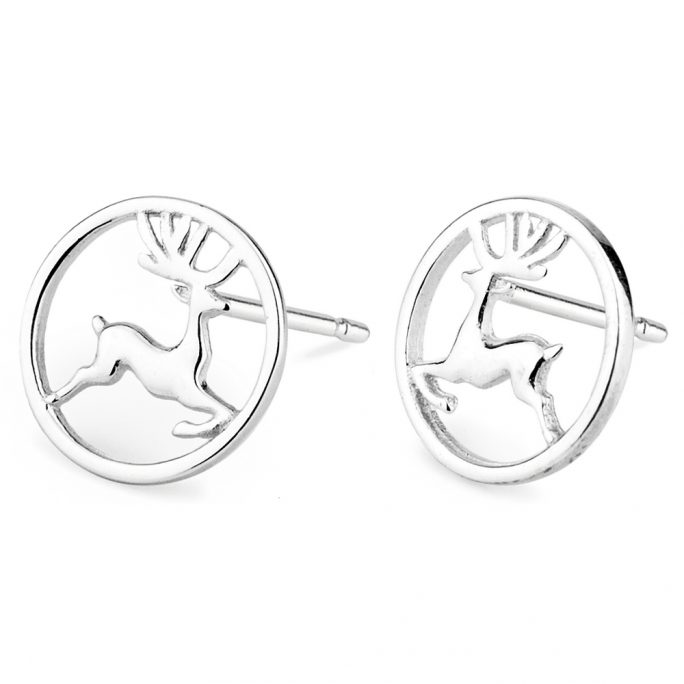 Stud Earring Leaping Stag In Circle Made With Tin Alloy by JOE COOL