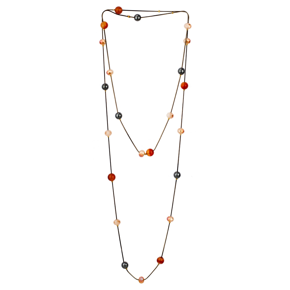Necklace Double Strand Made With Hematite & Glass Beads by JOE COOL