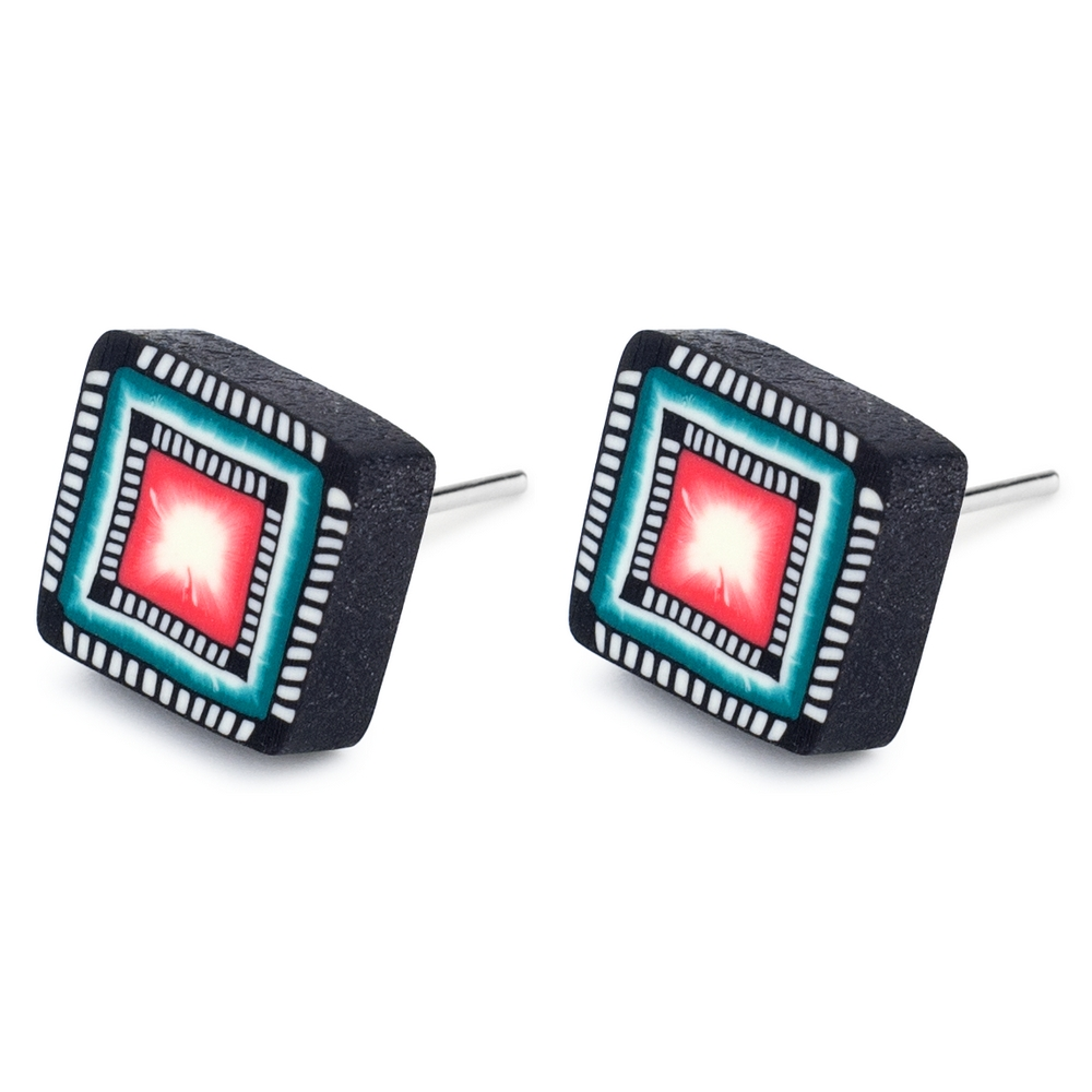 Stud Earring Squares Made With Tin Alloy & Fimo by JOE COOL