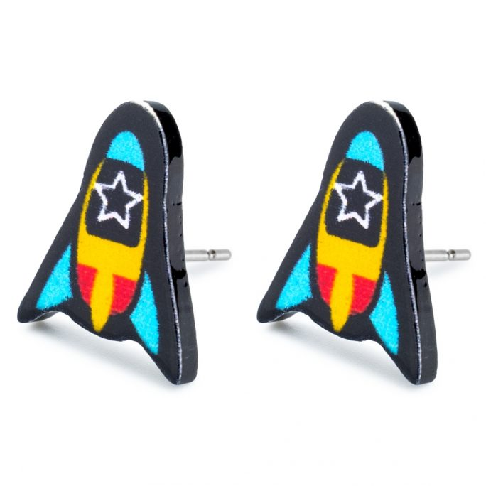 Stud Earring Rocket With Star Window Made With Tin Alloy & Acrylic by JOE COOL