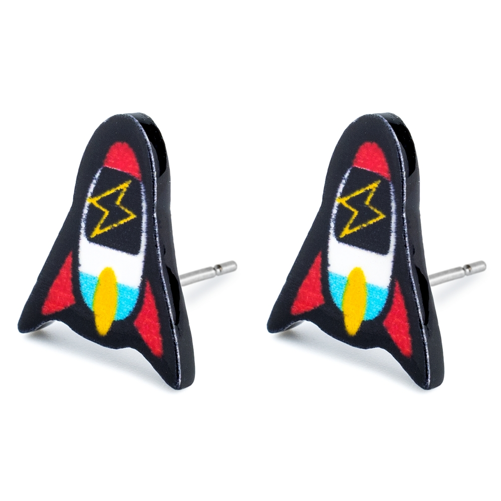 Stud Earring Rocket With Zigzag Window Made With Tin Alloy & Acrylic by JOE COOL