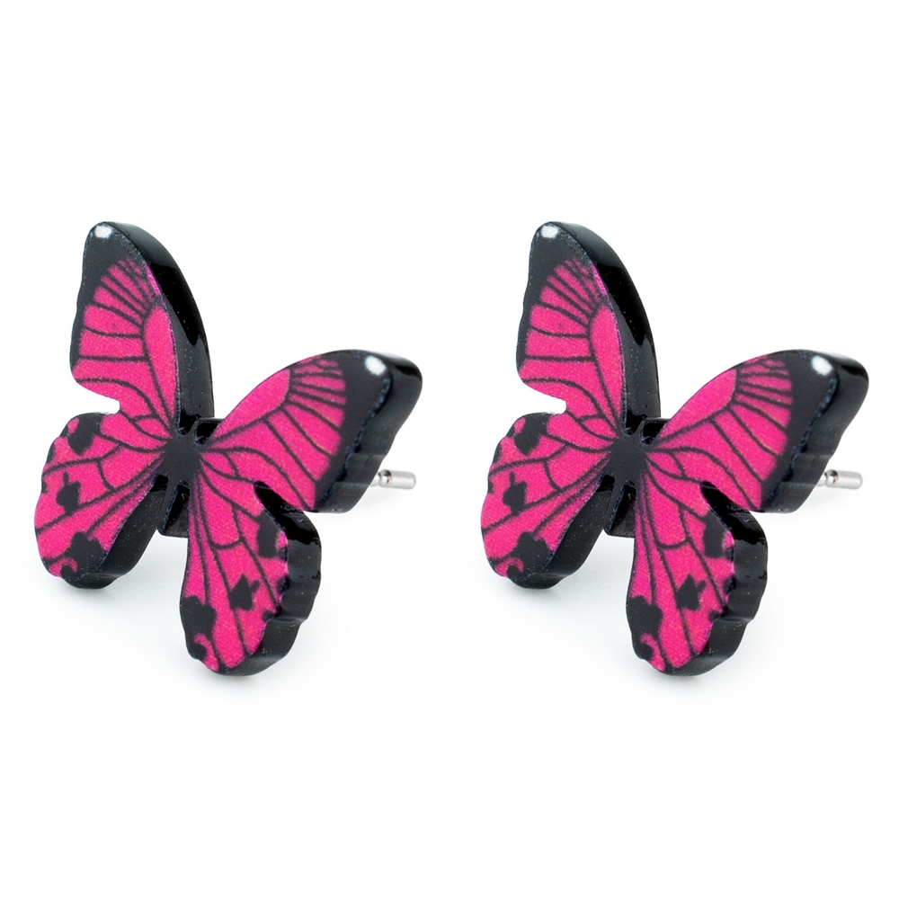 Stud Earring Butterfly Made With Tin Alloy & Acrylic by JOE COOL