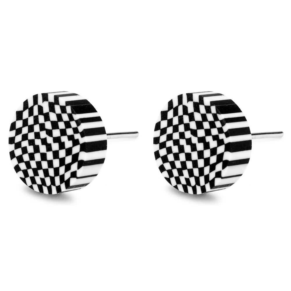 Stud Earring Round Checkers Illusion Made With Tin Alloy & Fimo by JOE COOL
